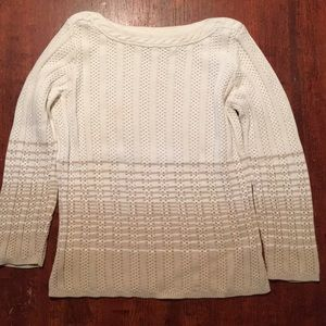 Peck & Peck Ivory and Tan Cotton Sweater